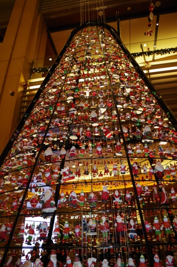 Christmas tree made of Santa Clauses